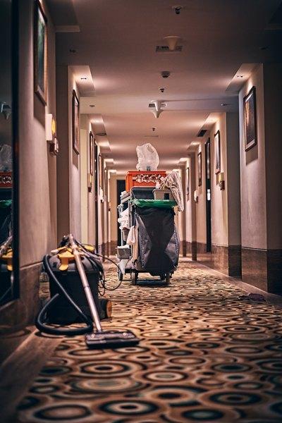 cleaning trolley in corridor